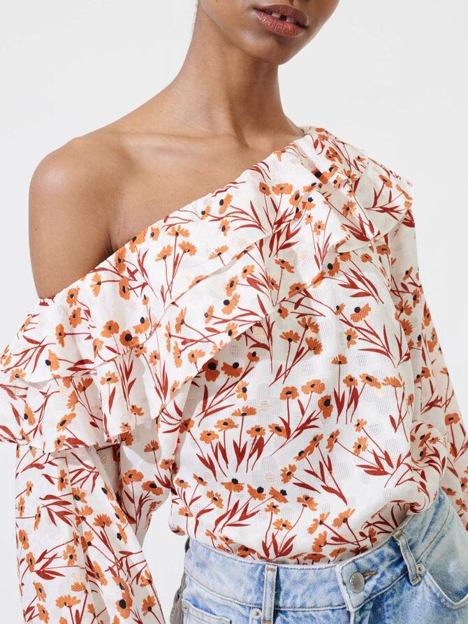 Top mit Blumenprint und freier Schulter - Tops & Hemden - MAJE