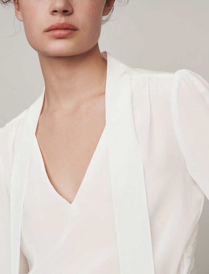 Lavalliere Seiden Top - Tops & Hemden - MAJE