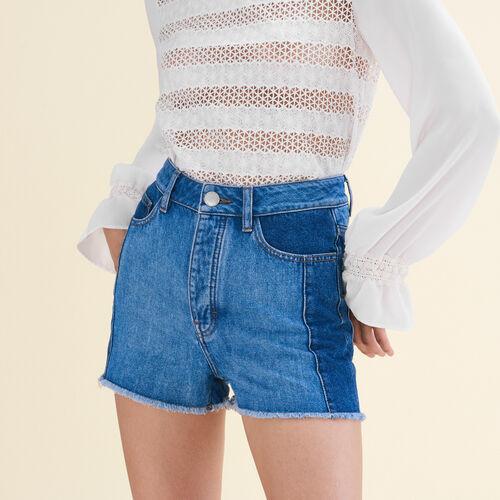 Denim-Shorts im Patchwork-Stil - Röcke & Shorts - MAJE