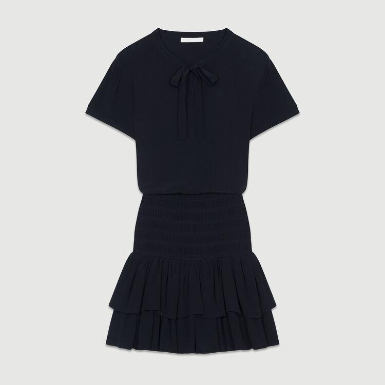 Kleid mit Rüschen und Fältchennäherei : Kleider farbe Schwarz