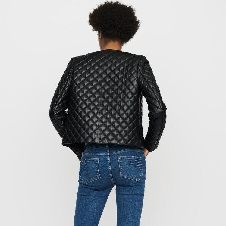 Jacke aus gestepptem Leder : Bekleidung farbe SCHWARZ