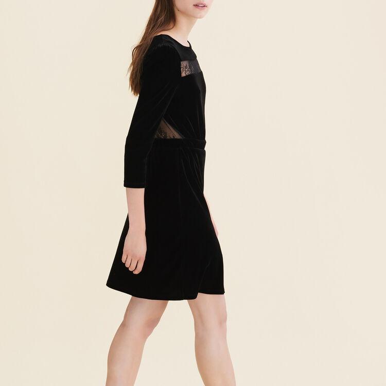 Kleid aus Velours und Spitze : Robes farbe Schwarz