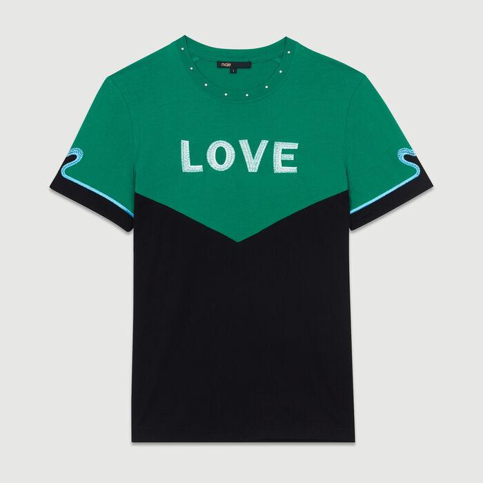 Zweifarbiges T-Shirt mit Stickerei : Neue Kollektion farbe Mehrfarbigen