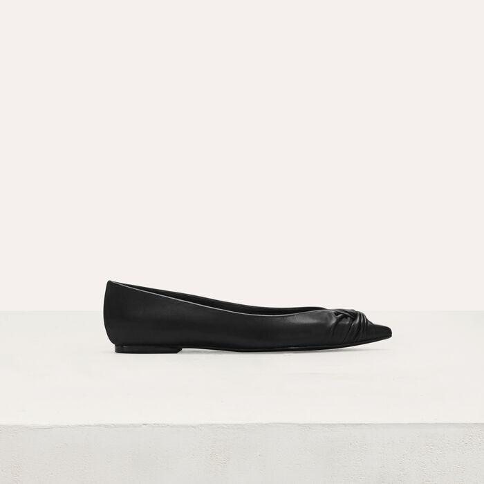 Flache drapierte Leder-Pumps : Flache Schuhe farbe Schwarz