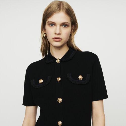 Halblanges Strick-Kleid : Kleider farbe Schwarz