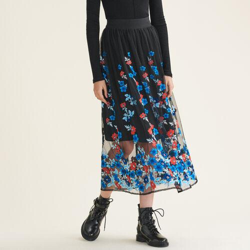 Langer Rock mit Blumenstickereien : Jupes & Shorts farbe Schwarz