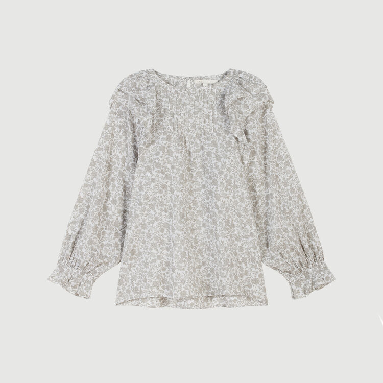 Blumen Top mit Volants : Tops & Hemden farbe Grau