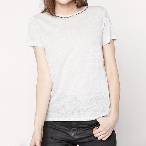 T-shirt mit strassverziertem kragen : T-shirts farbe Grau
