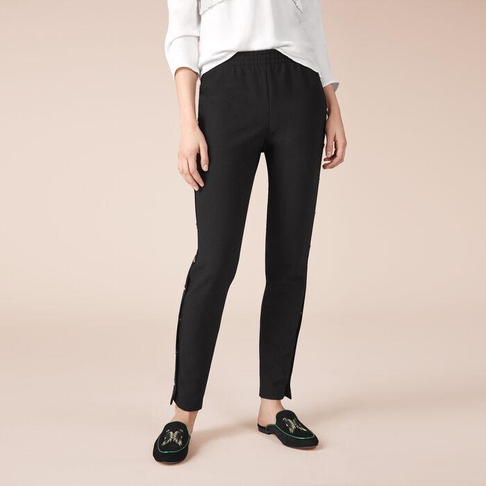 Hose aus Krepp mit Druckknöpfen : Hosen farbe Schwarz