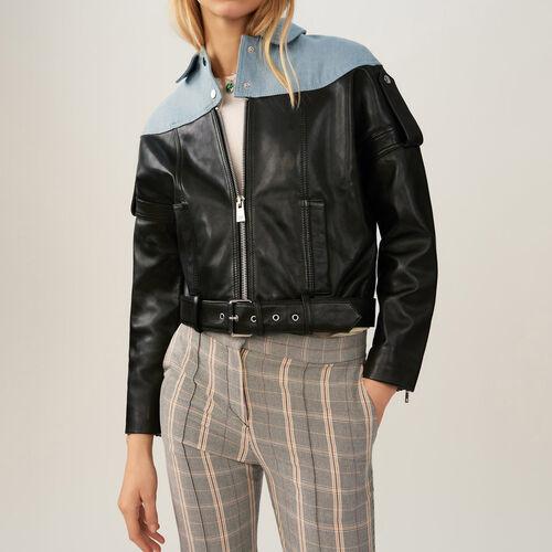 Jacke aus Leder und Denim : Jacken farbe Schwarz