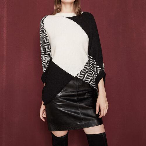 Pullover im Poncho-Stil aus Strick : Ich selber farbe Zweifarbig