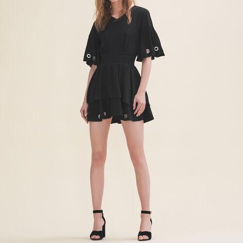 Fließendes Kleid mit Ösen : Robes farbe Schwarz