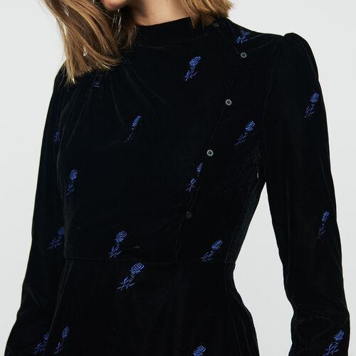 Kleid aus besticktem Velours : Kleider farbe Schwarz