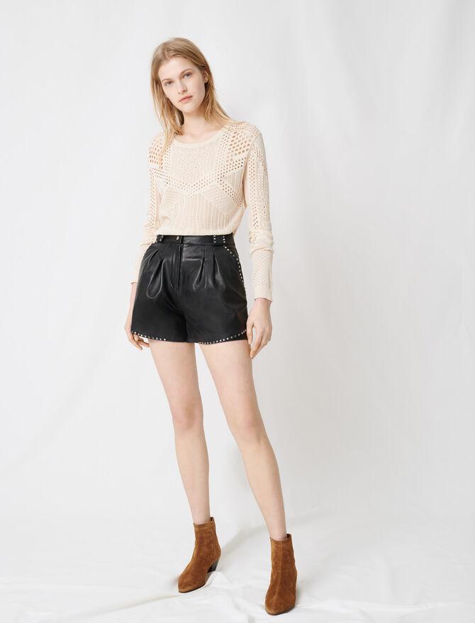 Ledershorts mit Nieten - Röcke & Shorts - MAJE