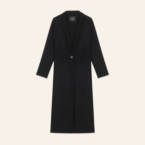 Langer Mantel aus Doubleface-Wolle : LAST CHANCE farbe Schwarz