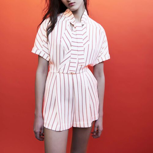 Striped playsuit : Röcke & Shorts farbe Gestreift