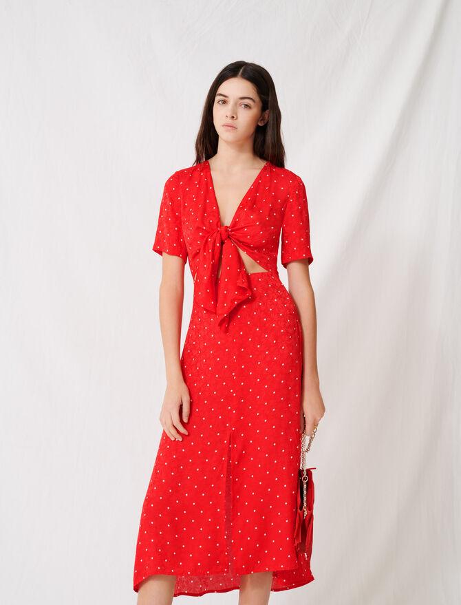 Langes geschnürtes Kleid mit Punktmuster -  - MAJE
