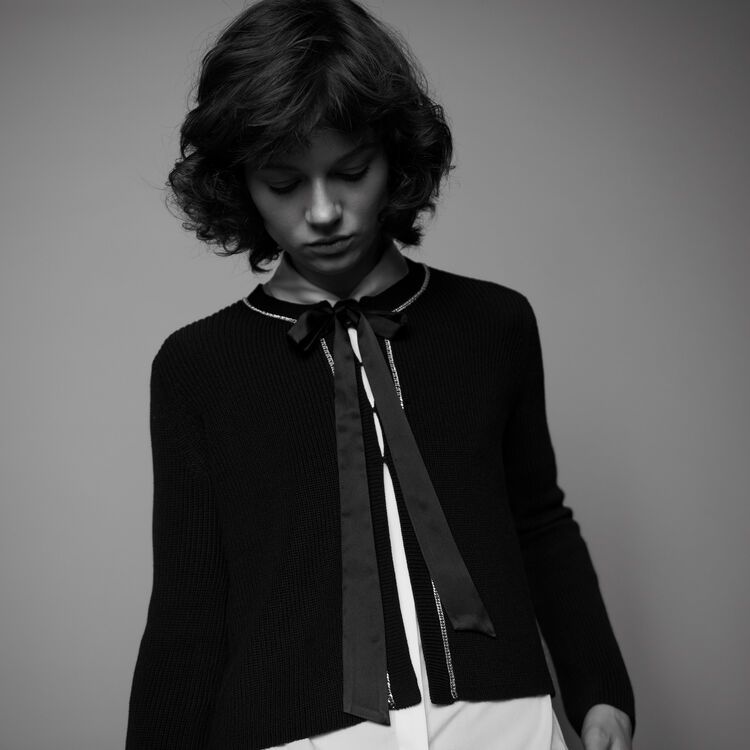 Feine Baumwollweste mit Kette : Strickwaren farbe Schwarz