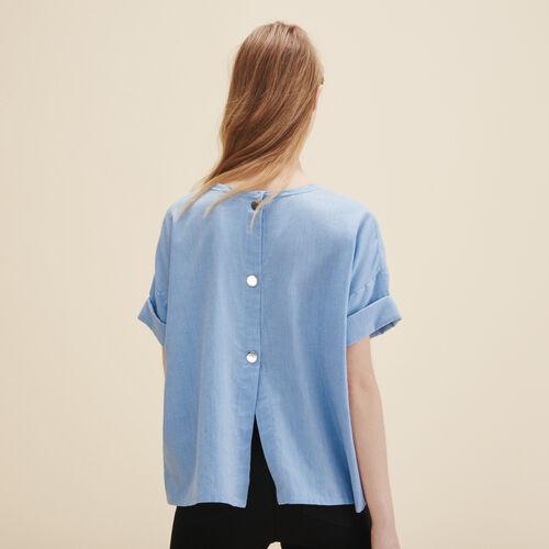 Top aus gekämmter Baumwolle : Tops farbe Blau