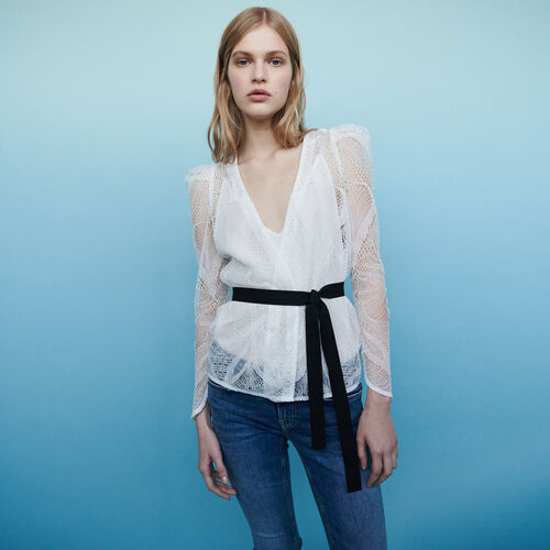 Cache-Coeur Top aus Spitze : Tops & Hemden farbe Ecru