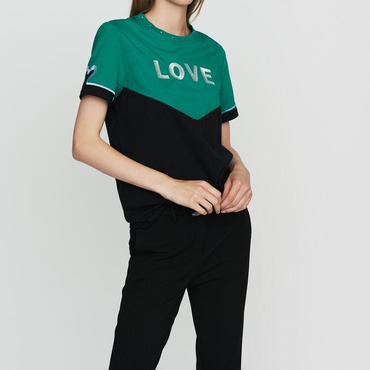 Zweifarbiges T-Shirt mit Stickerei : T-Shirts farbe Mehrfarbigen