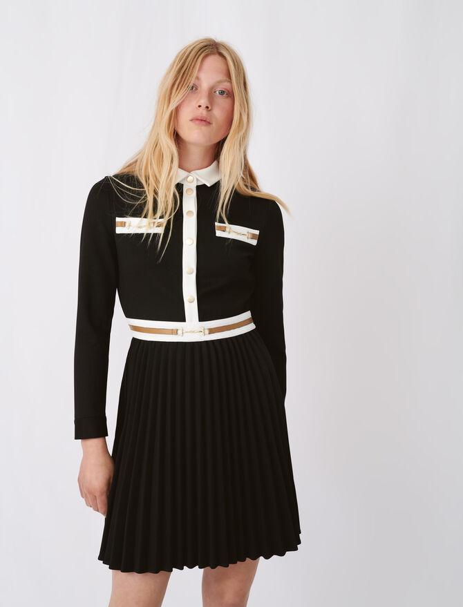 Kleid aus Krepp mit Kontrastdetails - Kleider - MAJE