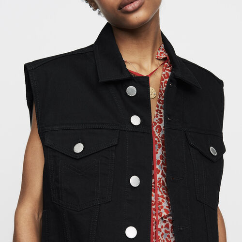 Ärmellose Jeansjacke : Neue Kollektion farbe Schwarz