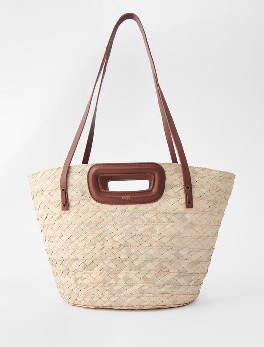 Korb aus geflochtene Palm und Leder : Alle Taschen farbe Karamell