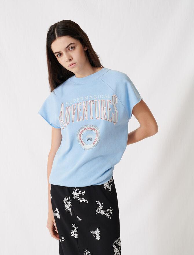Himmelblaues Sweatshirt mit Siebdruck - T-Shirts - MAJE