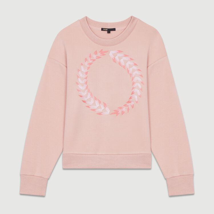Fleece-Sweatshirt mit Stickereien : Bekleidung farbe PECHE