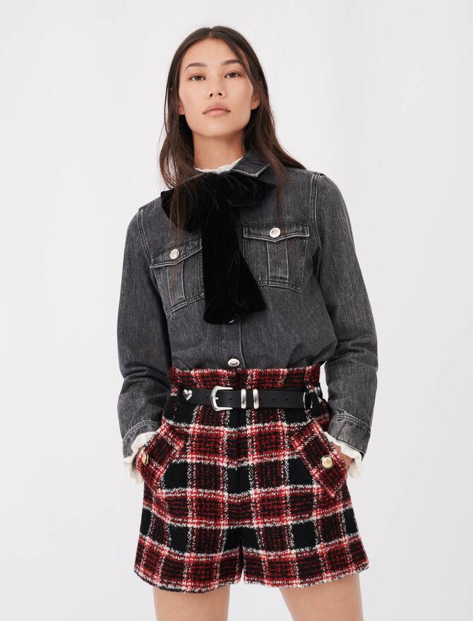 Jeansbluse mit Samtschleife - Tops & Hemden - MAJE