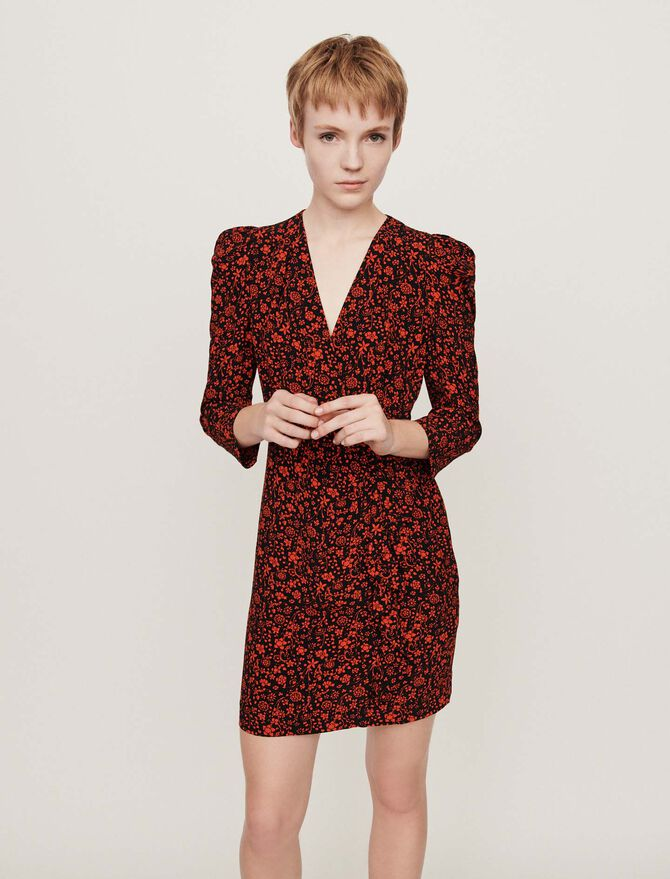 Kleid mit bedrucktem Krepp - LastchanceUK_20 - MAJE