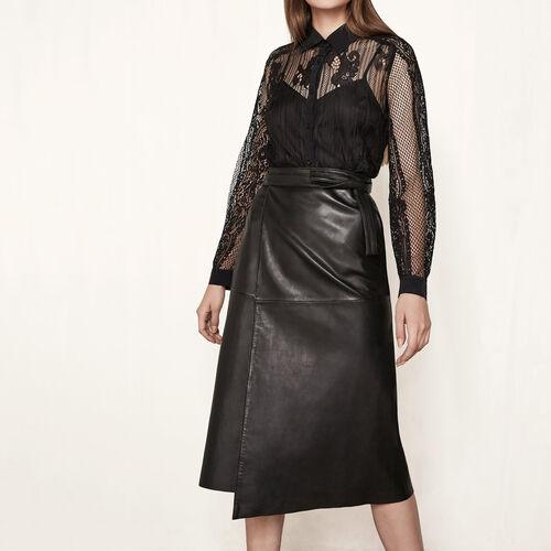 Wickelrock aus Leder : Röcke und Shorts farbe Schwarz