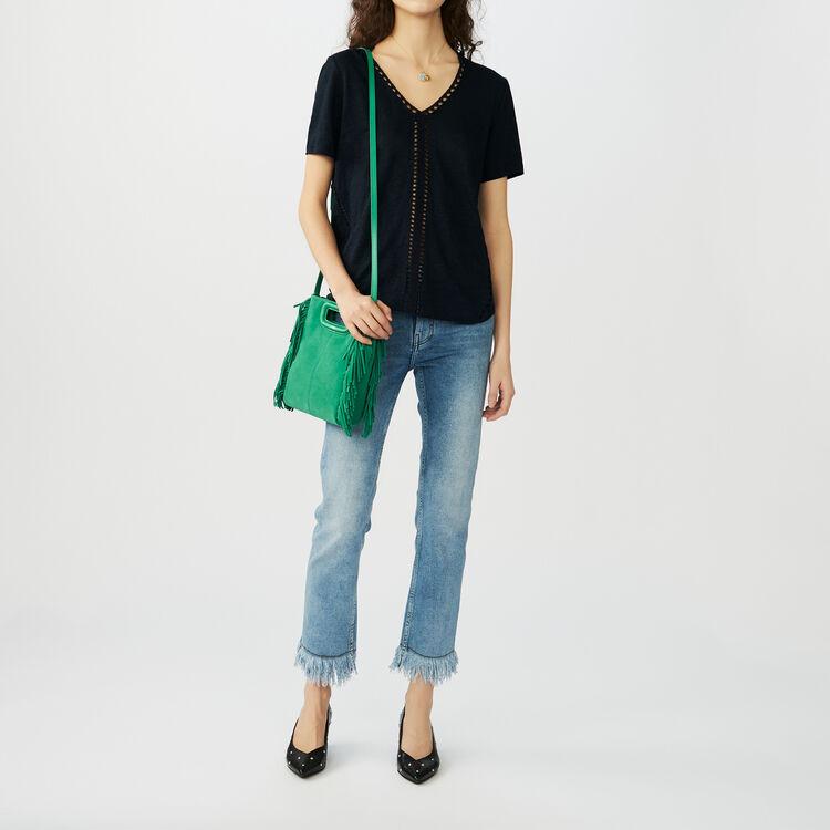 Leinen-Top mit Ajours : T-Shirts farbe Marineblau