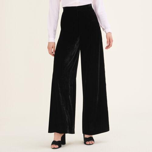 Weite Hose aus Velours : Hosen farbe Schwarz