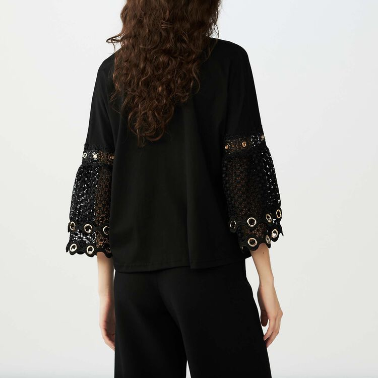 T-Shirt mit Guipure-Ärmeln : T-Shirts farbe Schwarz