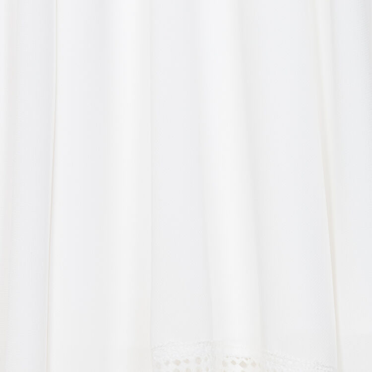Langes ärmelloses Spitzenkleid : Kleider farbe Weiss