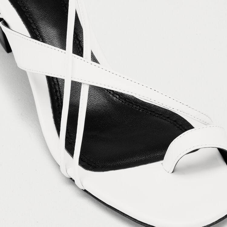 Ledersandalen mit Knöchelschnürung : Pumps farbe Weiss