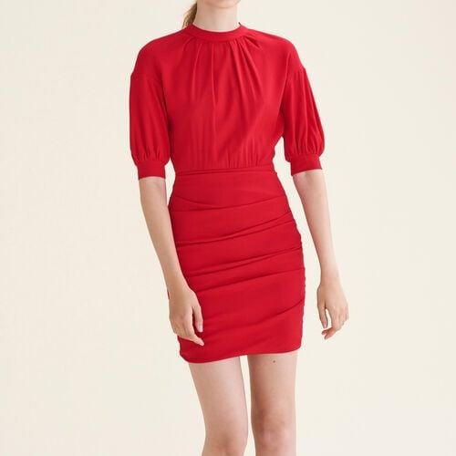 Drapiertes Kleid aus zwei Materialien : Kleider farbe Rot