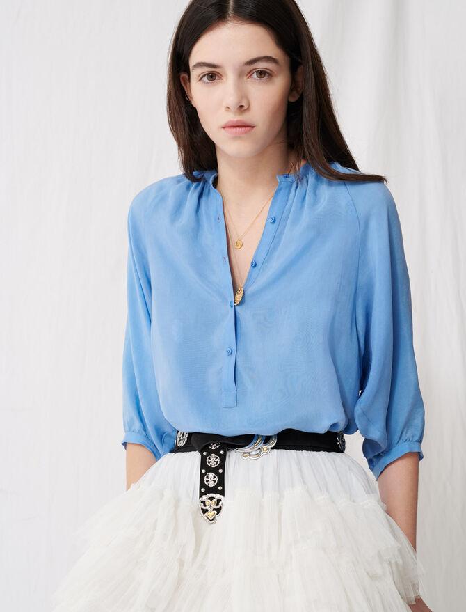 Geraffte Bluse mit Knopfverschluss - Tops & Hemden - MAJE