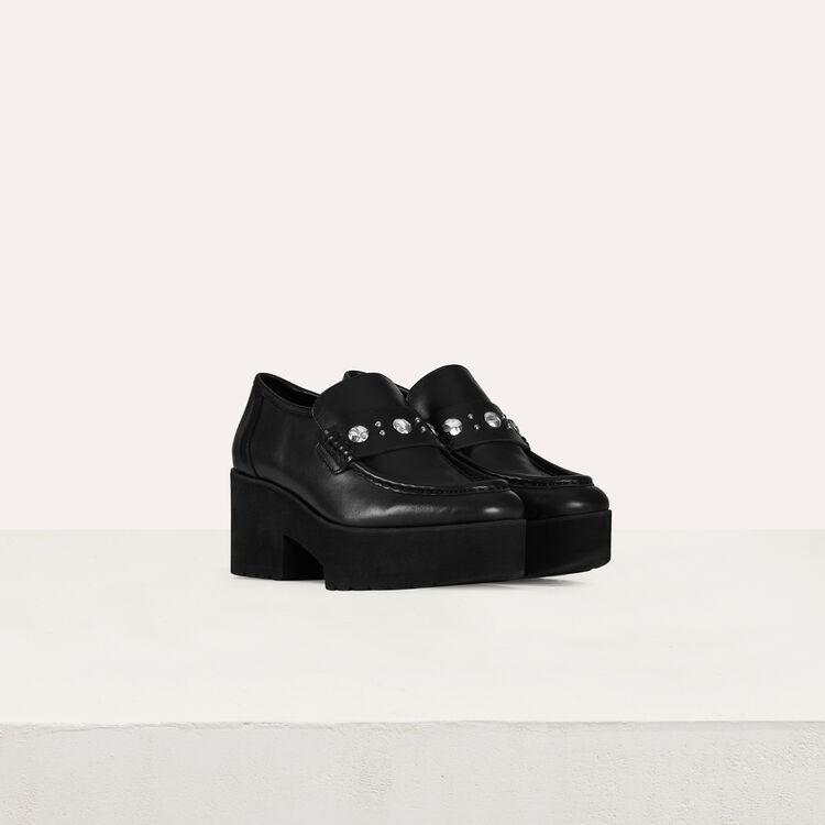 Plateau-Mokassins mit Nieten aus Leder : Flache Schuhe farbe Schwarz