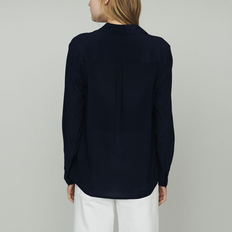 Fliessende Seidenbluse : Tops & Hemden farbe Marineblau