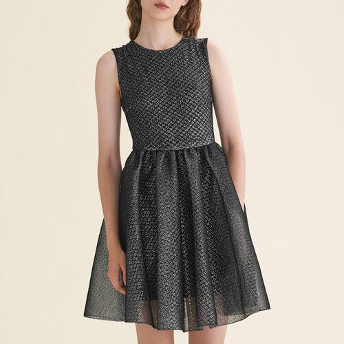 Ärmelloses Kleid aus Tüll und Lurex - Kleider - MAJE