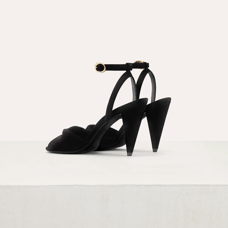 Leather high heals sandals : Schuhe farbe Schwarz