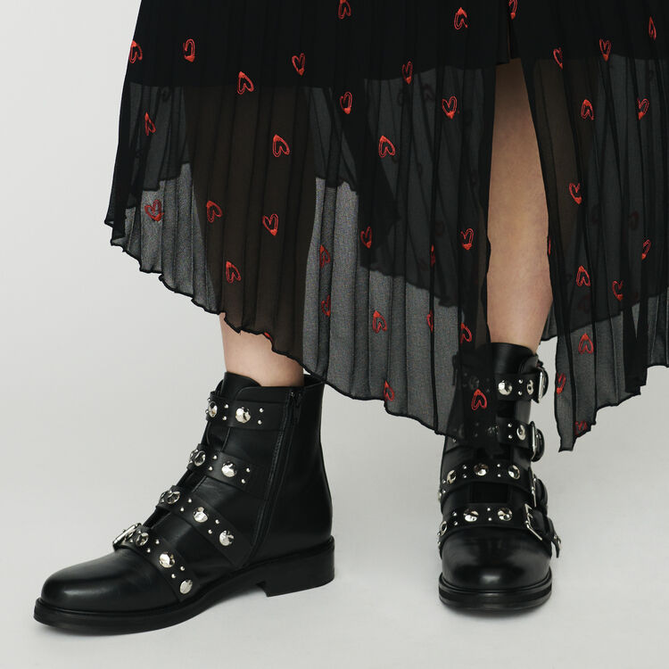 Flache Leder-Stiefelletten mit Nieten : Stiefel farbe Schwarz