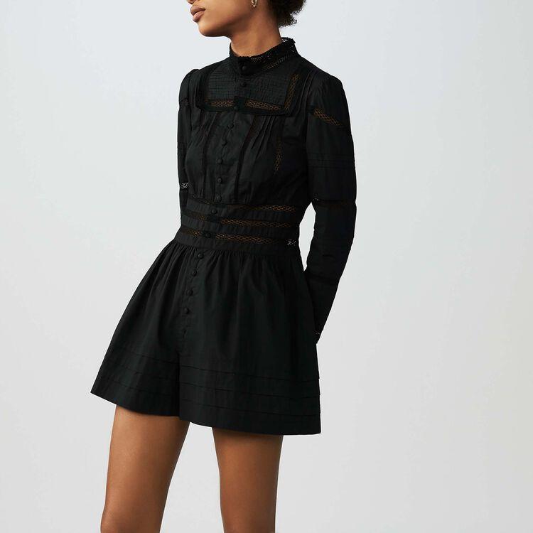 Jumpshort aus bestickter Popeline : Jumpsuits farbe Schwarz