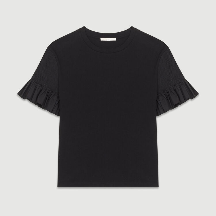 T-shirt with sleeves : Tops farbe Schwarz