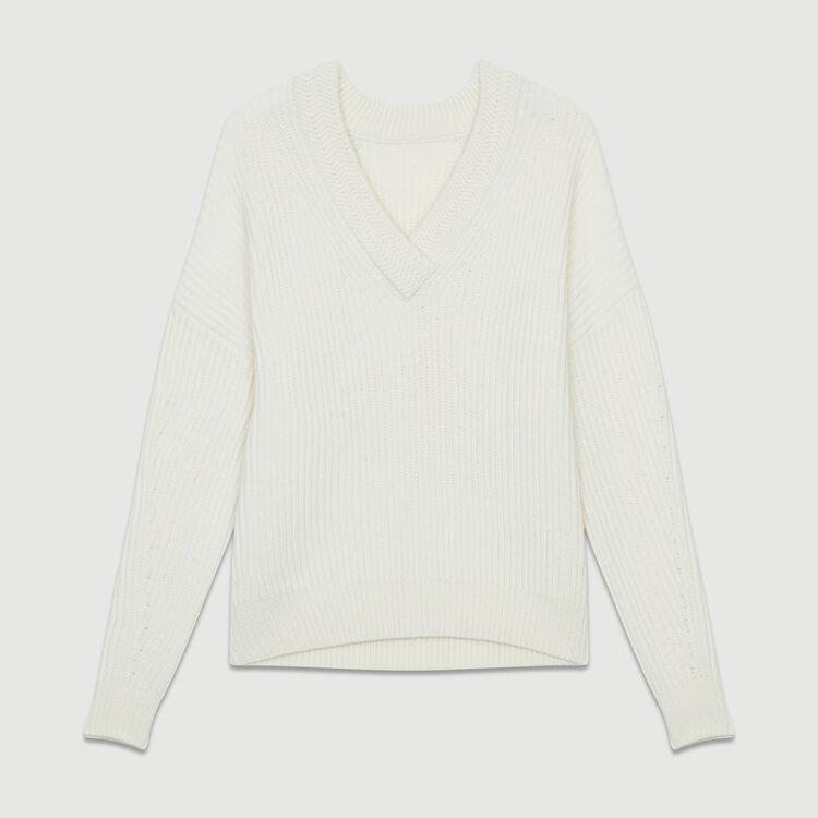 Long-sleeved, V-neck sweater : Strickwaren farbe ECRU