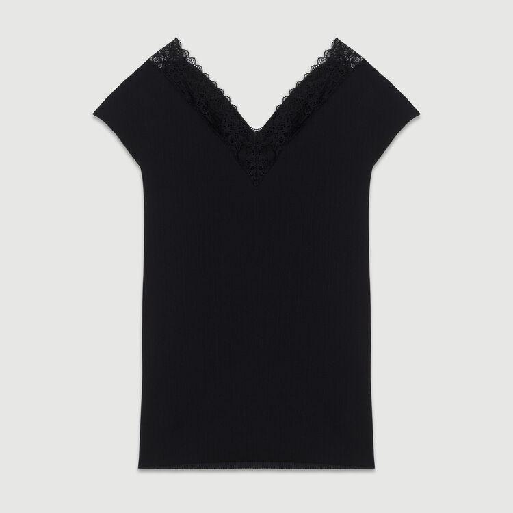 Plissee-Top mit Spitze : SoldesUK-All farbe Schwarz