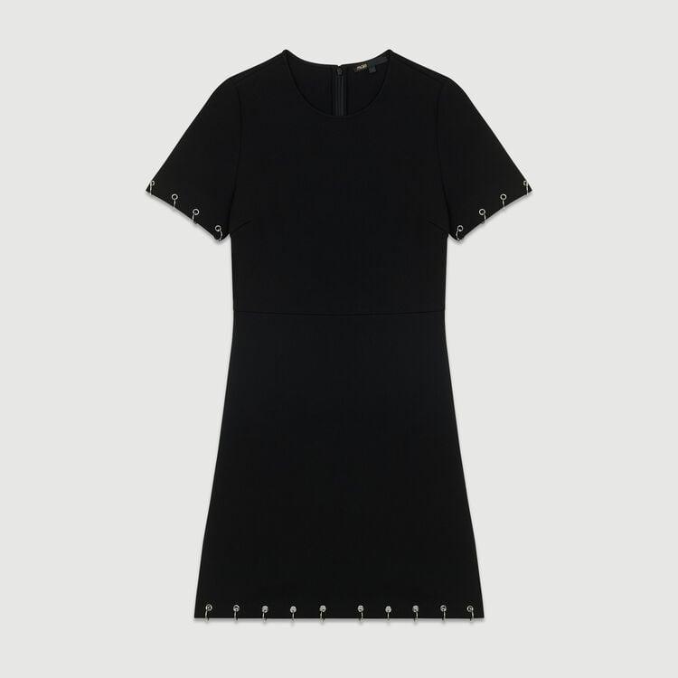 Krepp-Kleid mit Ösen und Ringen : Neue Kollektion farbe Schwarz